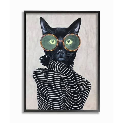 The Stupell Home Decor Fashion Feline Striped Shirt And Round Glasses Cat Framed Art, 11x14, Proudly Made in USA