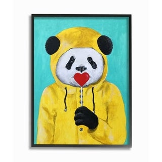 The Stupell Home Decor Yellow Coat Panda With A Lollipop Framed Art, 11x14, Proudly Made in USA