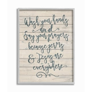 The Stupell Home Decor Blue Script Germs and Jesus Cursive Planked Look Gray Farmhouse Framed Art, 11x14, Proudly Made in USA