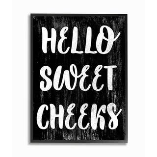 The Stupell Home Decor Black and White Distressed Textured Hello Sweet Cheeks Black Framed Art, 11x14, Proudly Made in USA