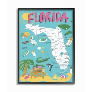 The Stupell Home Decor Florida Teal Blue and Pink Illustrated Scenic Map Poster Framed Art, 11x14, Proudly Made in USA