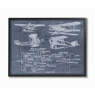 The Stupell Home Decor Slate Blue Distressed Vintage Airplanes Diagram Blueprint Framed Art, 11x14, Proudly Made in USA