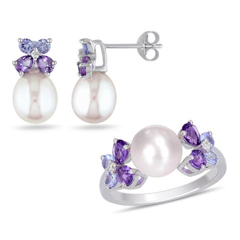 Miadora Sterling Silver Cultured FW Pearl Tanzanite Amethyst and Diamond Butterfly Jewelry Set (8-9 MM)