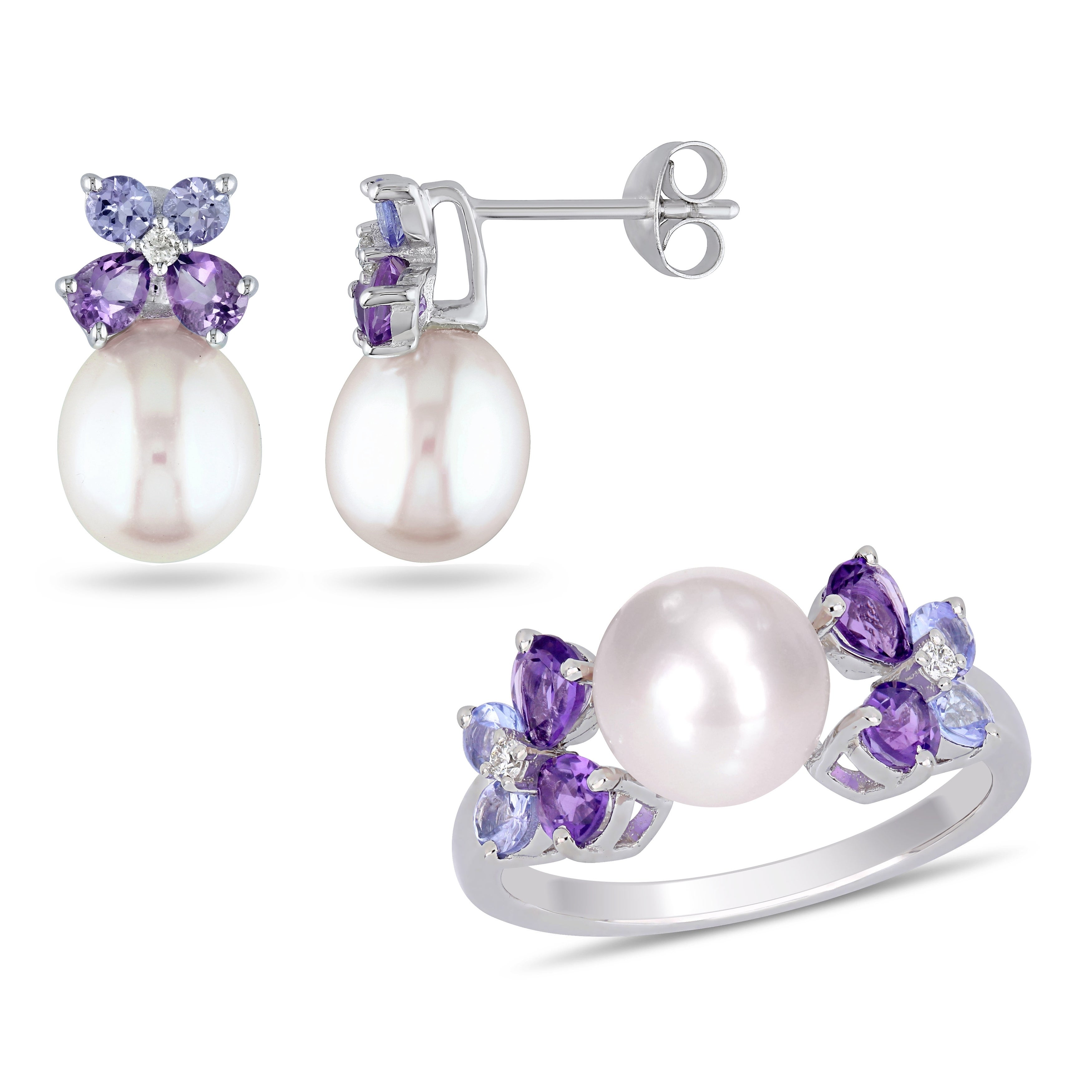Sterling Silver Freshwater Lavender Pearl Stud Earrings Set Of Four Sizes