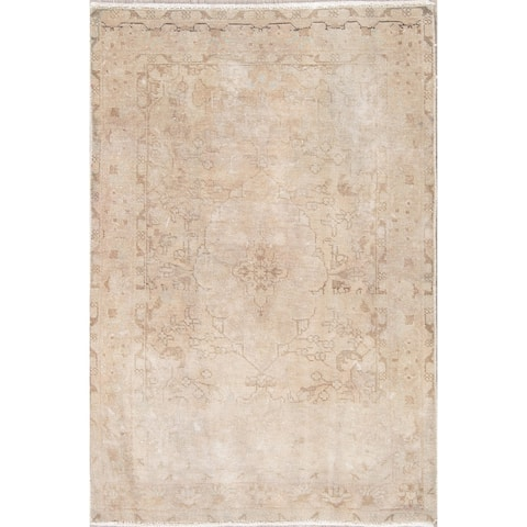 """Persian Traditional Wool Hand-Knotted Muted Vintage Oriental Area Rug - 4'9"""" x 3'2"""""""
