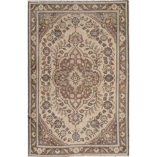 "Persian Hand-Knotted Muted Floral Wool Oriental Vintage Area Rug - 4'11"" x 3'3"""
