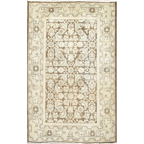 """Antique Persian Traditional Tabriz Hand-Knotted Wool Oriental Area Rug - 6'6"""" x 4'2"""""""