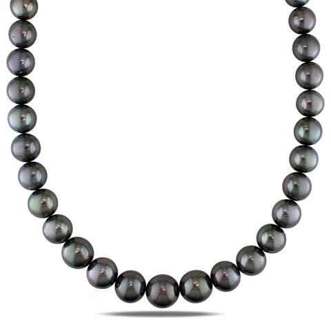 Miadora Black Tahitian Cultured Pearl Graduated Necklace with 14k White Gold Diamond Ball Clasp (12-15 mm)
