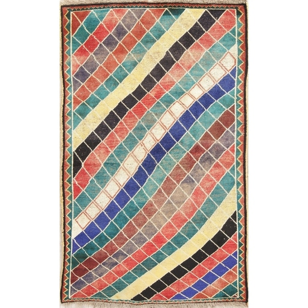 """Gabbeh Persian Wool Hand-Knotted Geometric Oriental Area Rug - 6'10"""" x 4'3"""""""