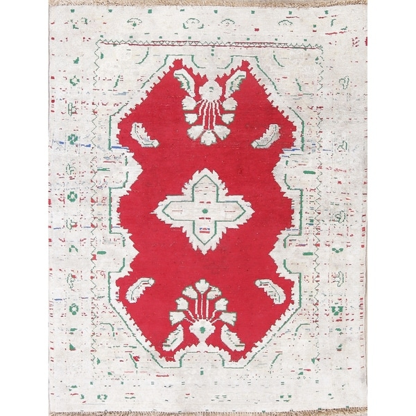 """Vintage Hamadan Persian Wool Hand-Knotted Muted Oriental Area Rug - 4'4"""" x 3'5"""""""