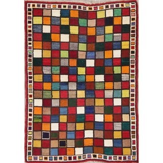 """Gabbeh Persian Wool Hand-Knotted Geometric Oriental Area Rug - 5'0"""" x 3'6"""""""