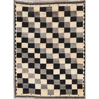 """Vintage Gabbeh Persian Wool Hand-Knotted Geometric Oriental Area Rug - 4'7"""" x 3'6"""""""