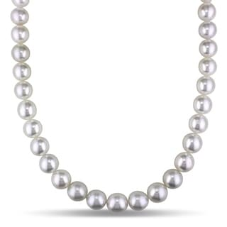 Miadora South Sea Cultured Pearl Necklace With 14k Yellow Gold Corrugated Ball Clasp 10 12 MM