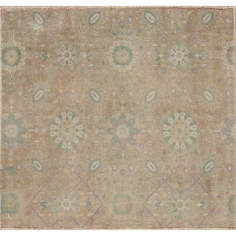 """Vintage Sarouk Persian Hand-Knotted Oriental Muted Wool Area Rug - 3'3"""" x 3'6"""" Square"""