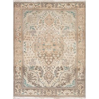 """Vintage Persian Wool Tabriz Hand-Knotted Muted Oriental Area Rug - 4'6"""" x 3'5"""""""