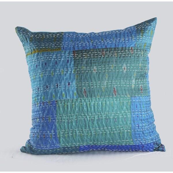 LR Home Color Block Blue Kantha Throw Pillow