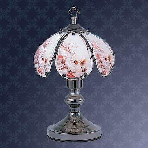 14.25 in Hummingbird Garden Black Chrome Touch-On Lamp