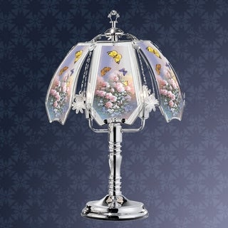 23.5 in Summer Roses Butterfly Silver Touch-On Lamp