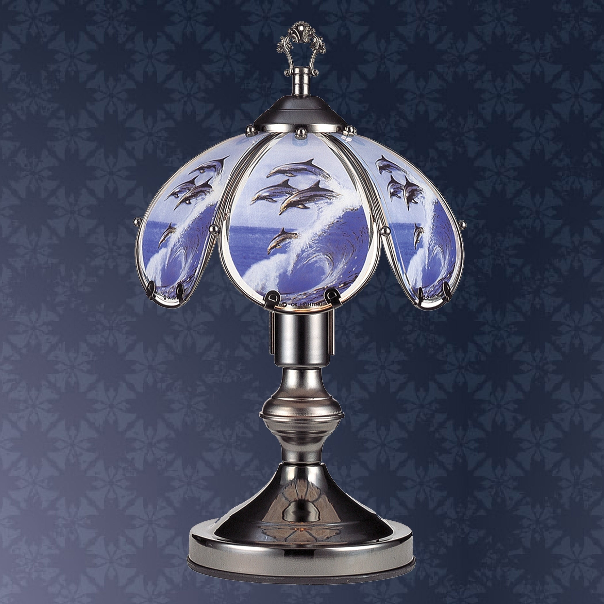 Dolphin Black Chrome Touch On Lamp