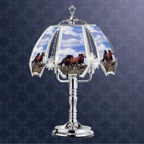 23.5 in Running Horses Silver Touch-On Lamp