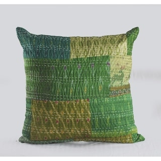 LR Home Peacock Kantha Throw Pillow 20 Inch