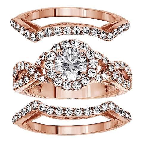 14k Rose Gold 2 3/4ct TDW Braided Mount Halo Diamond Engagement Bridal-set with 2 Matching Bands