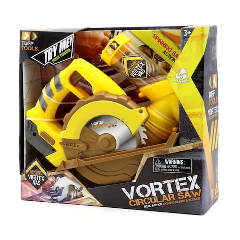 Tuff Tools Pretend Play Toy Vortex Circular Saw w/ Moving Blade & Sounds