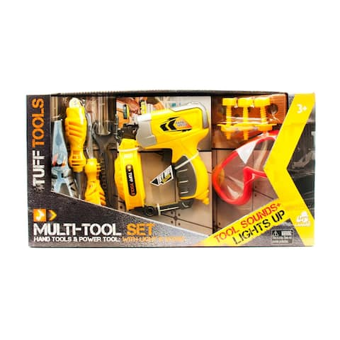 Tuff Tools Pretend Play Toy Multi-Tool Set w/ Toy Nail Gun, Plyers, Screwdriver, Wrench & More