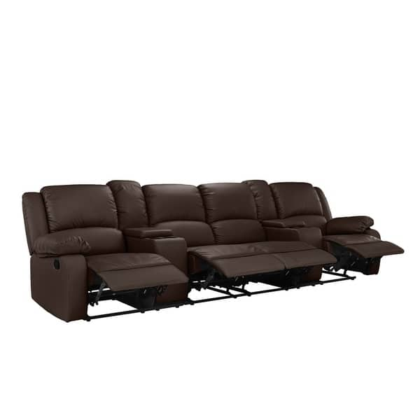 Shop Metal/Faux Leather Home Theatre Reclining 4-seat Sofa ...