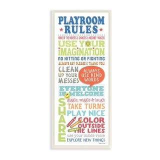 The Kids Room by Stupell Playroom Rules Colorful Typography White Blue Green and Red Wall Plaque Art, 7x17, Proudly Made in USA