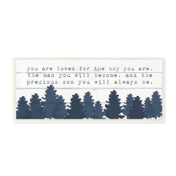 The Kids Room by Stupell You Are Loved For The Precious Son You Are Navy Blue Forest Wall Plaque Art, 7x17, Proudly Made in USA