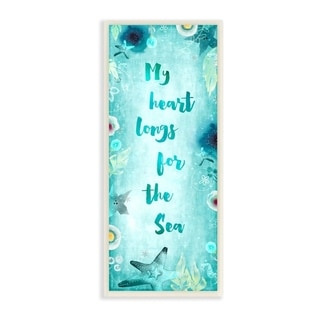 The Stupell Home Decor My Heart Longs For The Sea Teal Watercolor Sea Life Script Wall Plaque Art, 7x17, Proudly Made in USA
