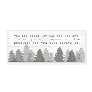The Kids Room by Stupell You Are Loved For The Precious Son You Are Grey Forest Wall Plaque Art, 7x17, Proudly Made in USA