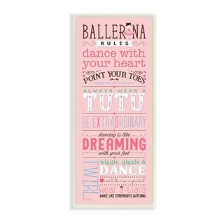 The Kids Room by Stupell Pink Ballerina Rules Dance With Your Heart Typography  Wall Plaque Art, 7x17, Proudly Made in USA