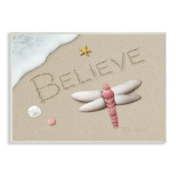 The Stupell Home Decor Believe Written In Sand With Starfish Sand Dollar Wall Plaque Art, 10x15, Proudly Made in USA