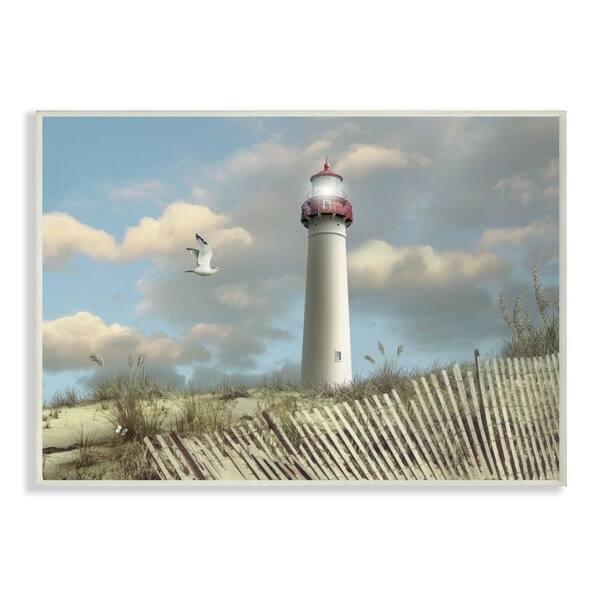 Sand Dune Fence Lighthouse Beach Scene