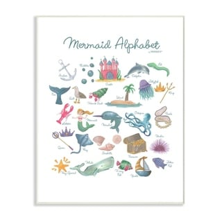 The Kids Room by Stupell Watercolor Mermaid Alphabet Wall Plaque Art, 10x15, Proudly Made in USA