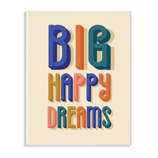 The Kids Room by Stupell Big Happy Dreams Bright Blue Teal Orange Pink and Yellow Wall Plaque Art, 10x15, Proudly Made in USA