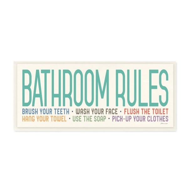 The Stupell Home Decor Teal Red Orange Green and Purple Bathroom Rules Wall Plaque Art, 7x17, Proudly Made in USA - 7 x 17