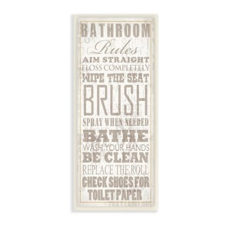 The Stupell Home Decor Bathroom Rules Tan and White Distressed Overlay Typography Wall Plaque Art, 7x17, Proudly Made in USA
