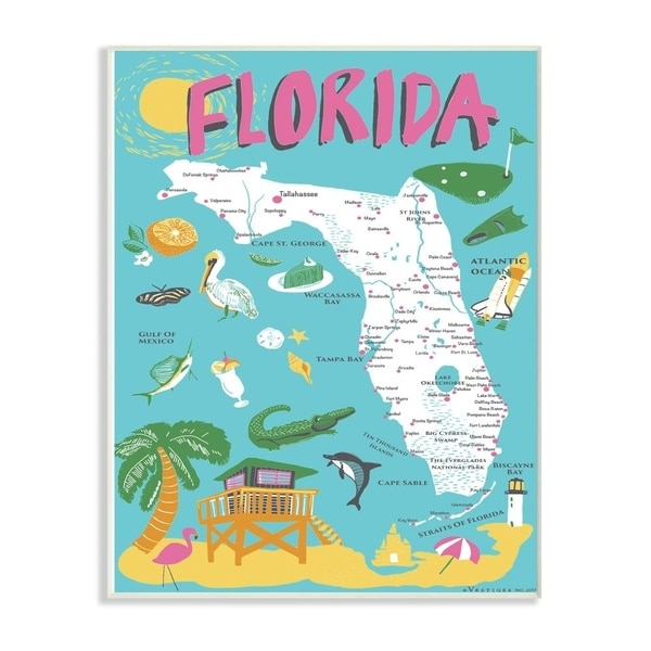 The Stupell Home Decor Florida Teal Blue and Pink Illustrated Scenic Map Poster Wall Plaque Art, 10x15, Proudly Made in USA