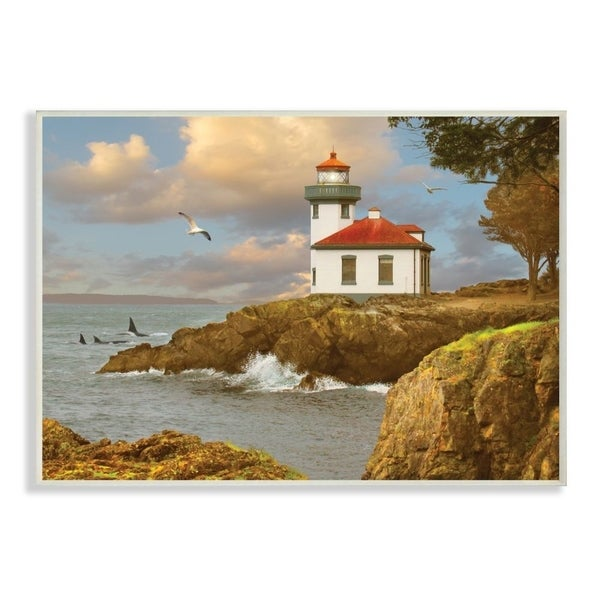 The Stupell Home Decor Lime Kiln Cliff Side Ocean Wave Lighthouse Wall Plaque Art, 10x15, Proudly Made in USA