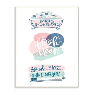 The Stupell Home Decor Pink and Blue Scrub A Dub Dub with Bath Tub and Toothbrush Wall Plaque Art, 10x15, Proudly Made in USA