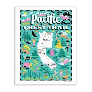 The Stupell Home Decor Pacific Crest Trail Aqua Blue and Pink Wall Plaque Art, 10x15, Proudly Made in USA