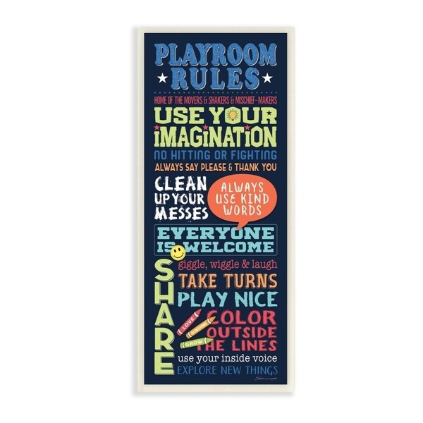The Kids Room by Stupell Playroom Rules Colorful Typography Navy Blue Green and Red Wall Plaque Art, 7x17, Proudly Made in USA