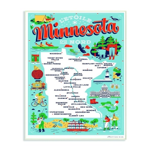 The Stupell Home Decor Minnesota Light Blue and Red Illustrated Scenic Map Poster Wall Plaque Art, 10x15, Proudly Made in USA