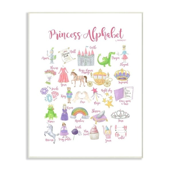 The Kids Room by Stupell Watercolor Princess Alphabet with Castle Dragon and Crown Wall Plaque Art, 10x15, Proudly Made in USA