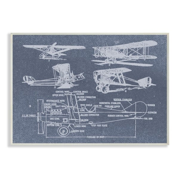 The Stupell Home Decor Slate Blue Distressed Vintage Airplanes Diagram Blueprint Wall Plaque Art, 10x15, Proudly Made in USA