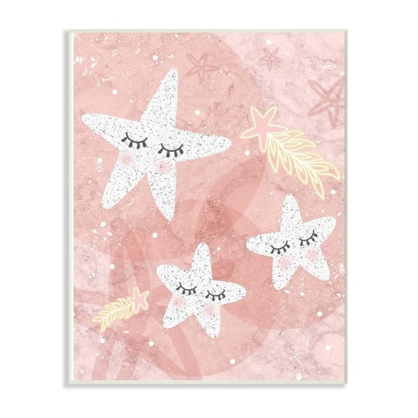 The Kids Room by Stupell Blush Pink Speckled Polka Dot Stars With Eyelashes Wall Plaque Art, 10x15, Proudly Made in USA