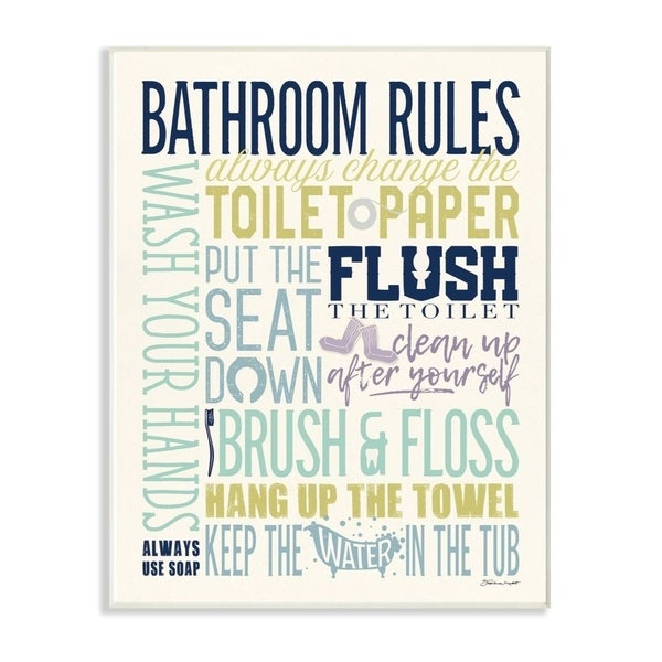 The Stupell Home Decor Bathroom Rules Aqua Blue Green and Purple Colorful Typography Wall Plaque Art, 10x15, Proudly Made in USA
